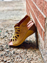 Inocencia | Wedge Sandal - Yellow - Wright Shoe Co. Ltd