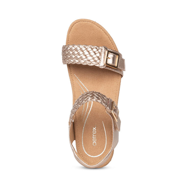 Grace | Adjustable Woven Wedge Sandal- Rose Gold ( Orthotic Technology) - Wright Shoe Co. Ltd