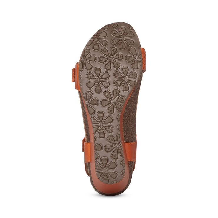 Grace | Adjustable Woven Wedge Sandal - Tangerine ( Orthotic Technology) - Wright Shoe Co. Ltd