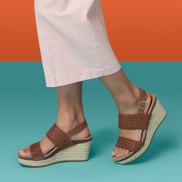 "Summer | Woven 3"" Wedge Sandal - Cognac (Orthotic Technology) - Wright Shoe Co. Ltd"
