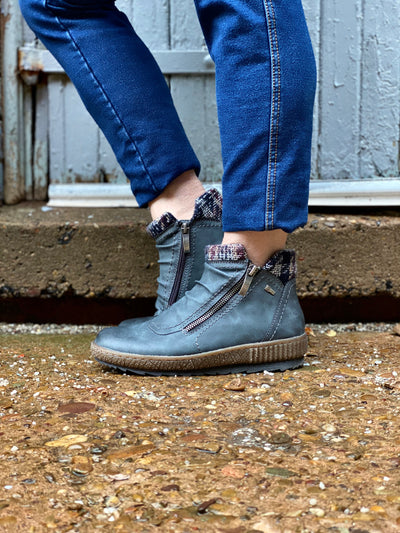 Cleora Water Resistant Bootie | Blue - Wright Shoe Co. Ltd