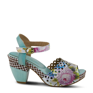 Jivvi Flora | Retro Ankle Strap Sandal - Sky Blue Multi - Wright Shoe Co. Ltd