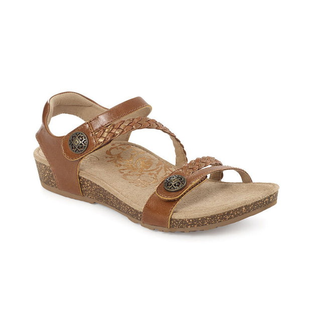 Jillian | Adjustable Sandal - Cognac (Orthotic Technology) - Wright Shoe Co. Ltd