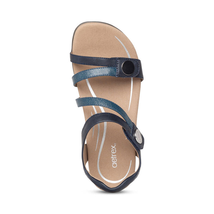 Jess | Adjustable Sandal - Navy (Orthotic Technology) - Wright Shoe Co. Ltd