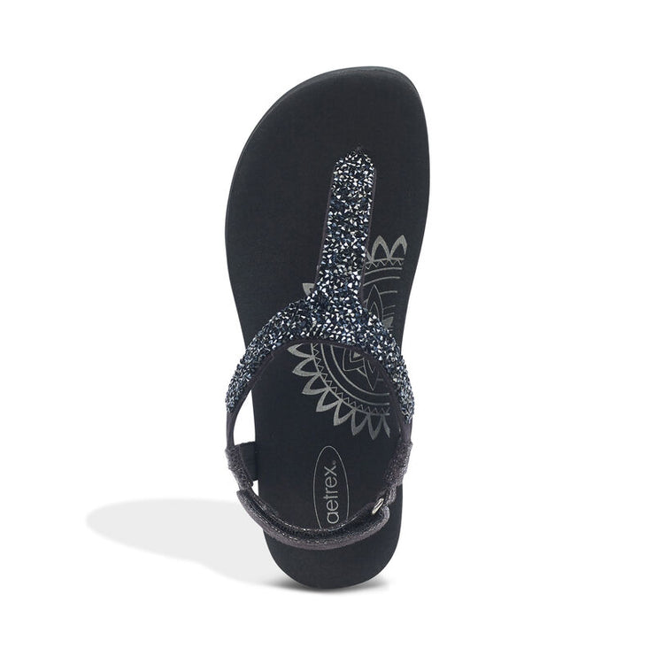 Jade | Sparkle Thong Sandal - Black (Orthotic Technology) - Wright Shoe Co. Ltd