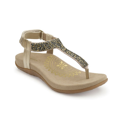 Jade | Sparkle Thong Sandal - Gold (Orthotic Technology) - Wright Shoe Co. Ltd
