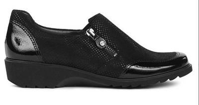 Athena Sporty Shoe | Black Vernice - Wright Shoe Co. Ltd