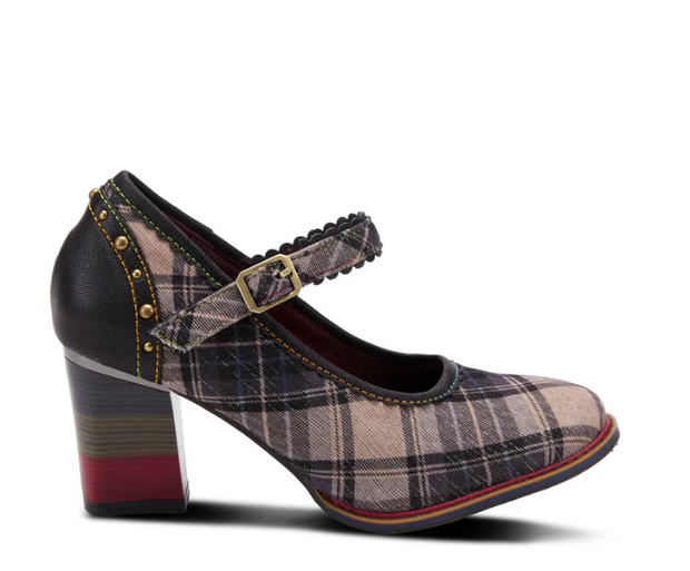Emjayplaid Mary-Jane Pump | Black Multi - Wright Shoe Co. Ltd