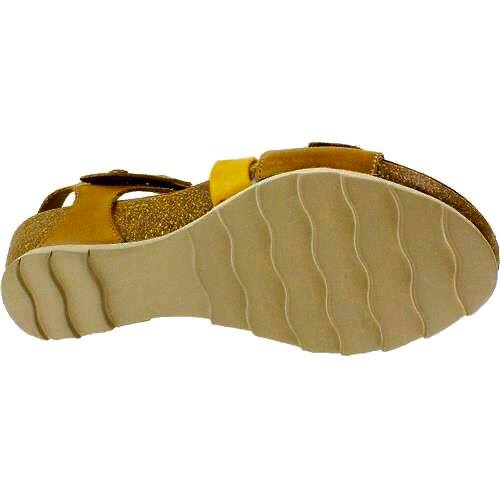 Bilma | Low Wedge Sandal - Mustard/Brown - Wright Shoe Co. Ltd