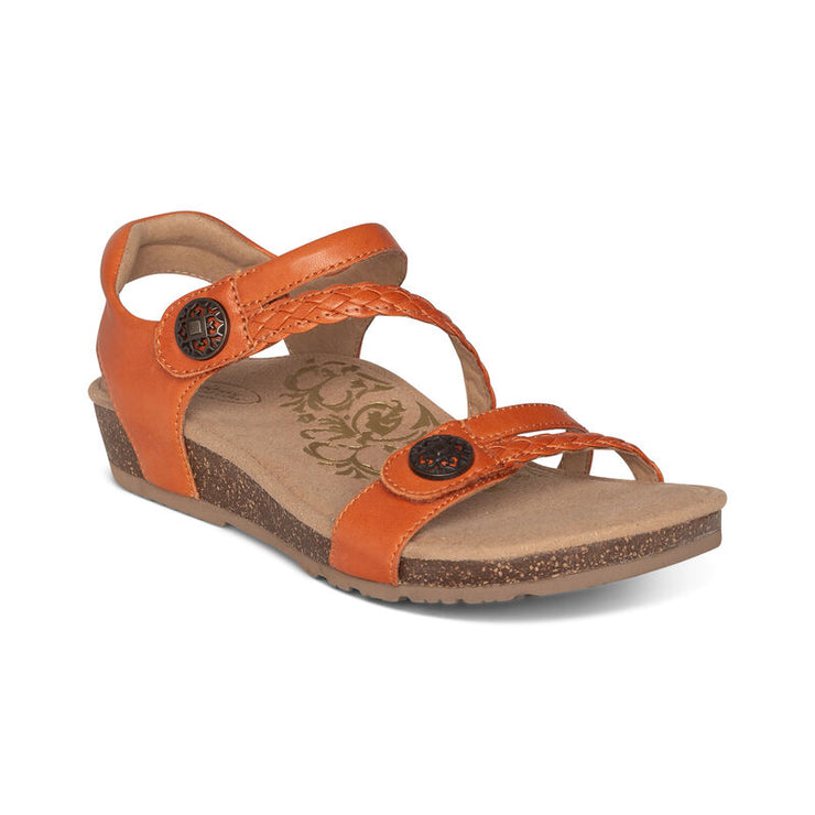 Jillian | Adjustable Sandal - Tangerine (Orthotic Technology) - Wright Shoe Co. Ltd