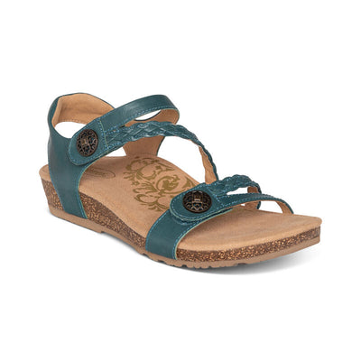 Jillian | Adjustable Sandal - Teal (Orthotic Technology) - Wright Shoe Co. Ltd