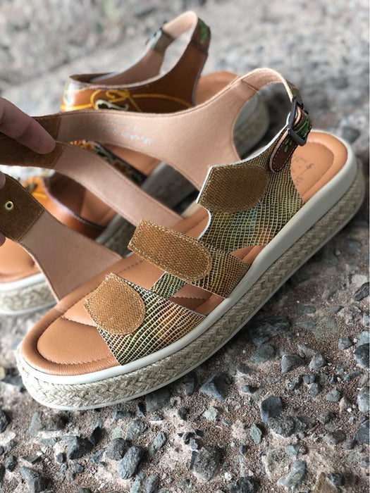 Michay | Quad Adjustment Espadrille Sandal - Camel Multi - Wright Shoe Co. Ltd