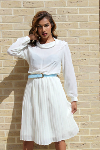 Image of 1980's Vintage Sheer Dress With Pleated Skirt