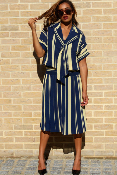 80's Vintage Tea Dress in A Blue Yellow Striped Print
