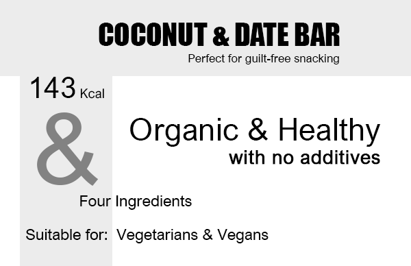 Organic Coconut & Date Snack Bars x 12 Units