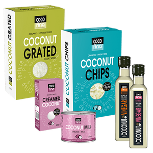 Coconut vinegar(chilli and nutmeg) , Coconut milk, Creamed coconut, Coconut chips, Desiccated or grated coconut - Cooking Pack