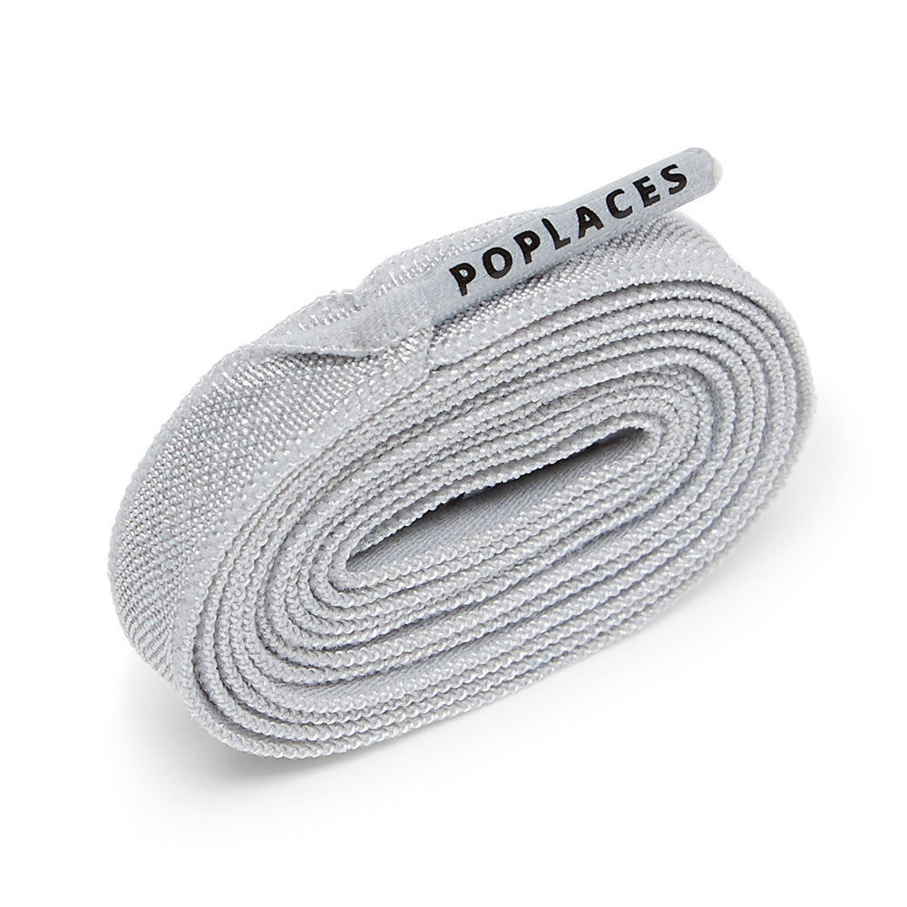 Grey Poplaces | Stretchy 'Tie Once' Shoe Laces