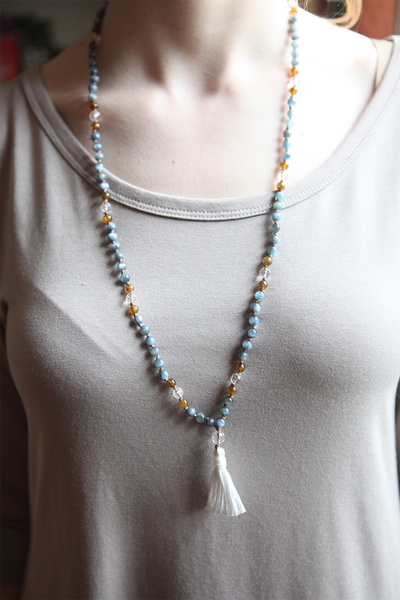 Kyanite, Hessonite Garnet, and Quartz Mala