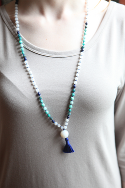 Rainbow Moonstone, Lapis Lazuli, Apatite, Amazonite, and Agate Mala