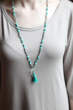 Labradorite, Amazonite, and Quartz Mala