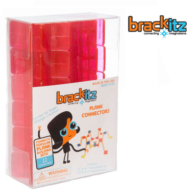 Brackitz Plank Building Toy Connectors, 12 Piece Add-On Set (Pink) - Brackitz