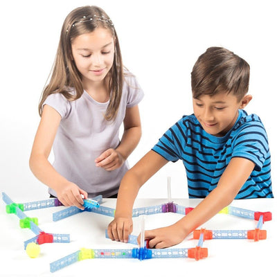 brackitz educational toy two children playing with brackitz bugz