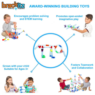 Brackitz Plank Building Toy Connectors, 12 Piece Add-On Set (Orange/Yellow) - Brackitz
