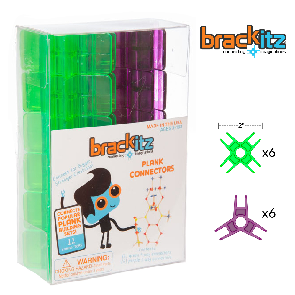 Brackitz Plank Building Toy Connectors, 12 Piece Add-On Set (Green/Purple) - Brackitz