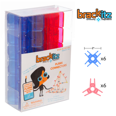 Brackitz Plank Building Toy Connectors, 12 Piece Add-On Set (Red/Blue) - Brackitz