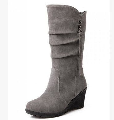 Lady's Autumn Spring  Mid Calf boot wedges