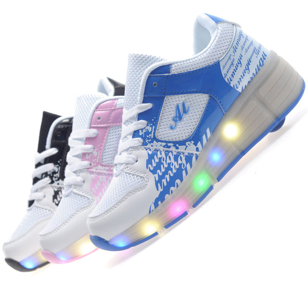 Girls/Boys LED Light Heelys, Roller Skate Shoe With Single Wheel - TUFOR JAYS