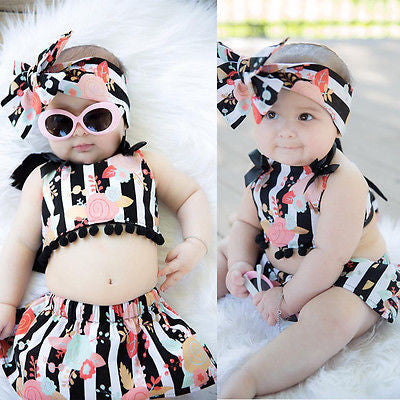 Fashion Set Romper+Tutu Skirt Summer Baby Girl Romper-Polyester