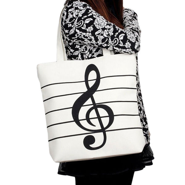 Musical Notes Tote Handbag -Large High Quality