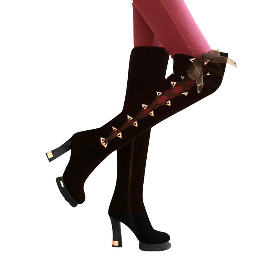 Knee-length Thick High-heeled Classic Scrub Boot's