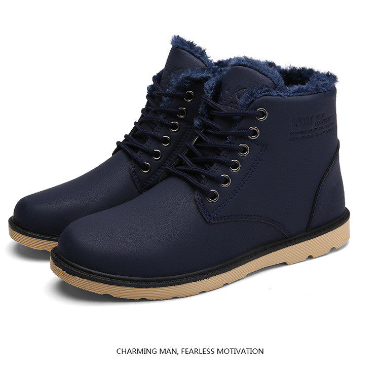 Leather Men Ankle Fashion Fur Lace-up Boot's