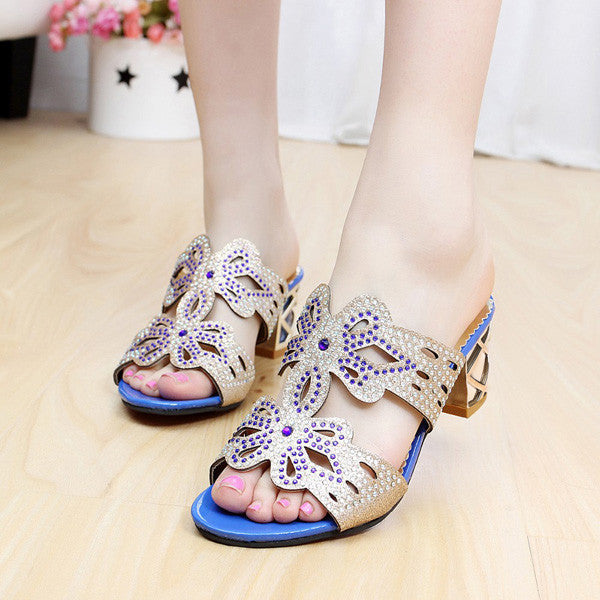2017 New Butterfly Fashion Rhinestone Cut-Outs Square Sandals
