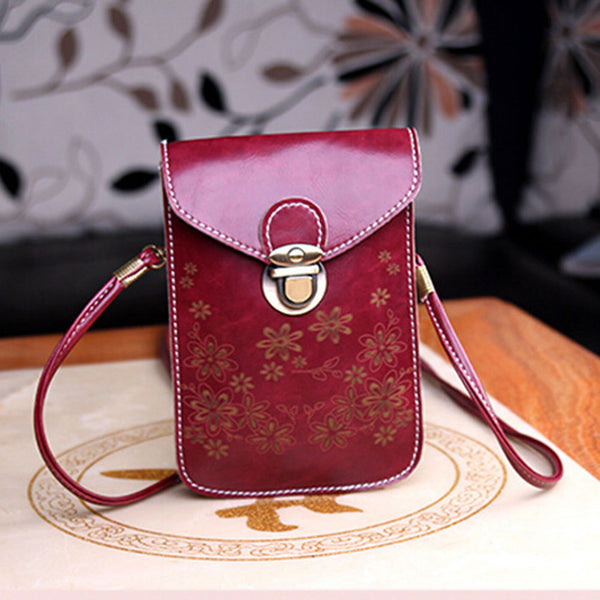 Fashion Flower Leather Cell Phone Wallet Case Shoulder Bag-W/Neck Strap