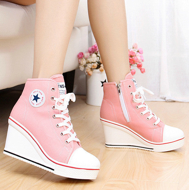 badge wedges high lacing casual elevator shoes - TUFOR JAYS