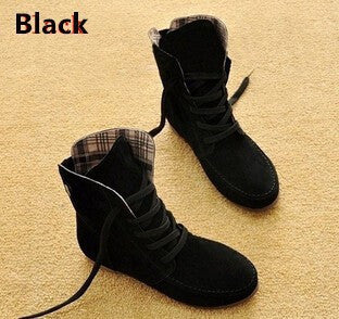 Ankle Motorcycle Leather Flat Boot