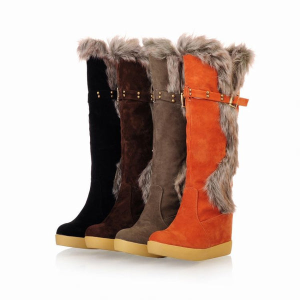 Hot Sale Buckle Knee High Winter Fur Boots Solid Round Toe