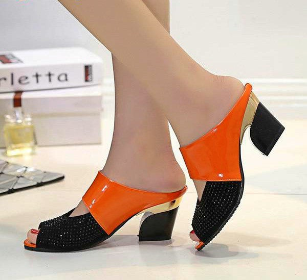Diamond Thick-heeled Fashion Sandals