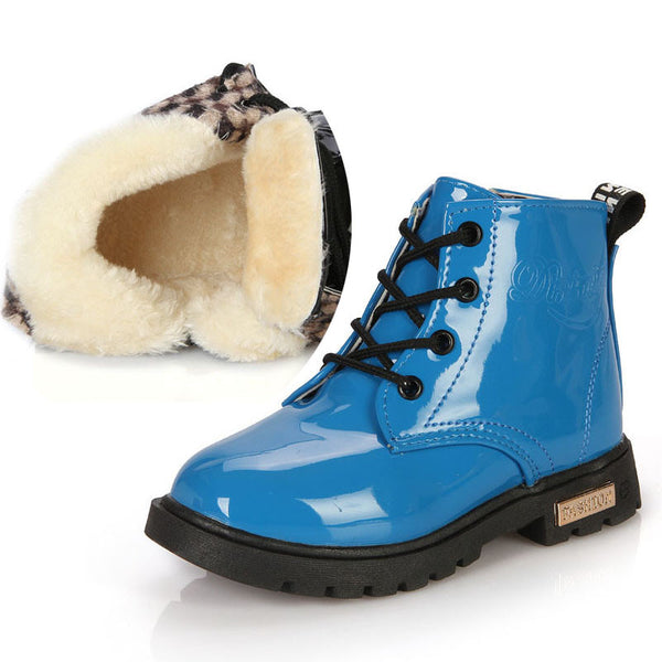 PU Leather Lace Up High Winter Children Shoes- With inside Fur - TUFOR JAYS