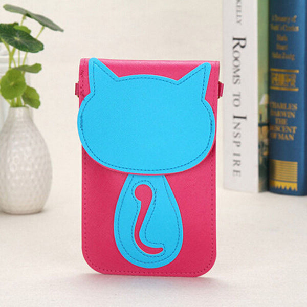 Magnetic button Cartoon Cat  Neck Strap Shoulder Bag-Leather