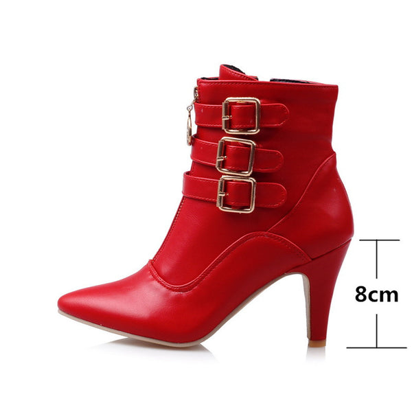 Zip-Buckle Pointed Toe Buckle Martin Boot's