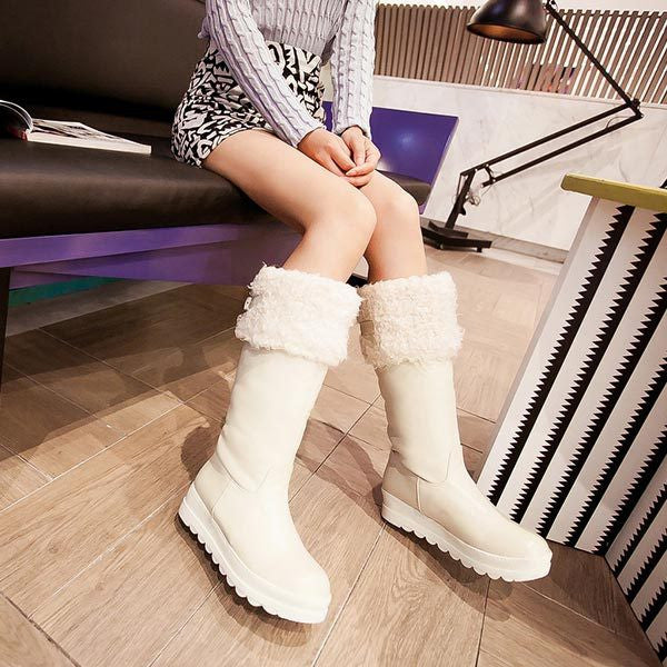High Leg Riding wedges Boots-Low Heel