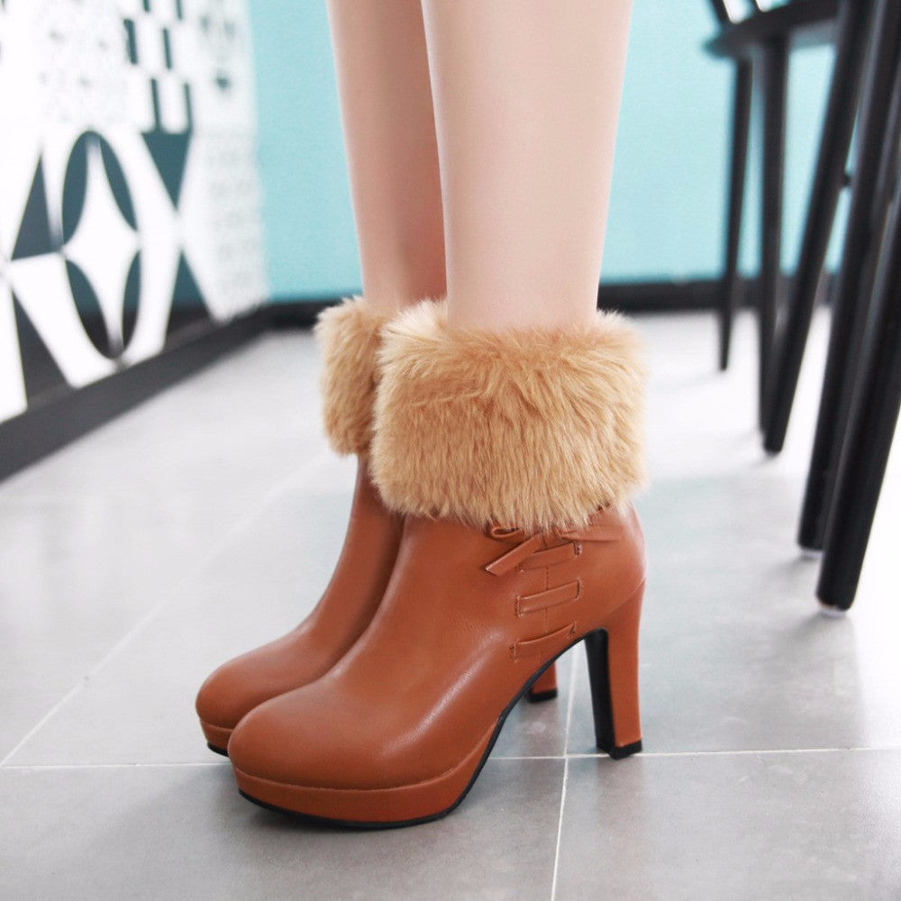 New High Heel Plush Zipper boots