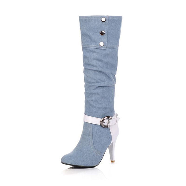 Pointed Toe High Heel Denim Knee High Boots