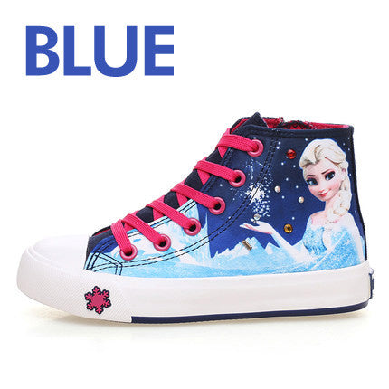 Princess Girls Shoes For Kids Fashion Elsa Anna Children Shoes 2017 New Ice Snow Queen Casual Denim Single Canvas Child Sneakers