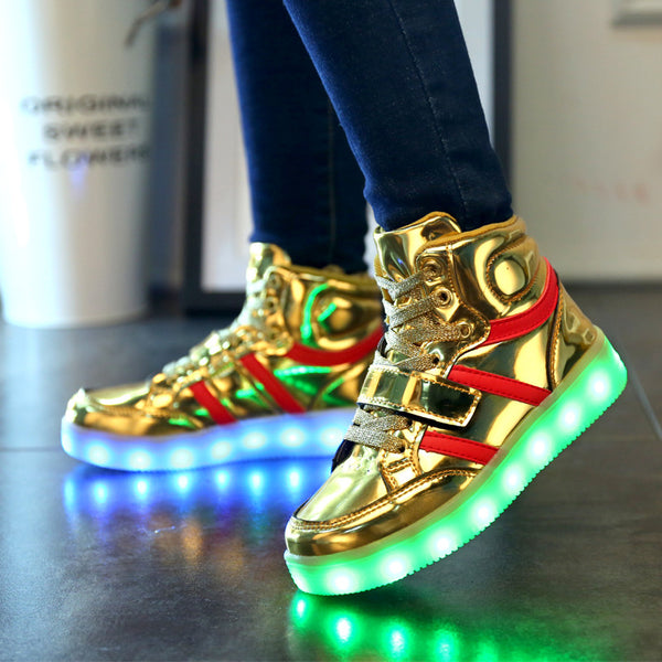 Top Quality LED Shoes 2017 Autumn Spring High Top Glowing Light-up Luminous