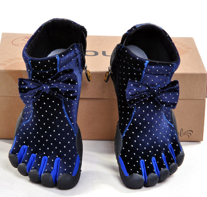 Autumn And Winter Women Bow Ankle Five Finger Shoes